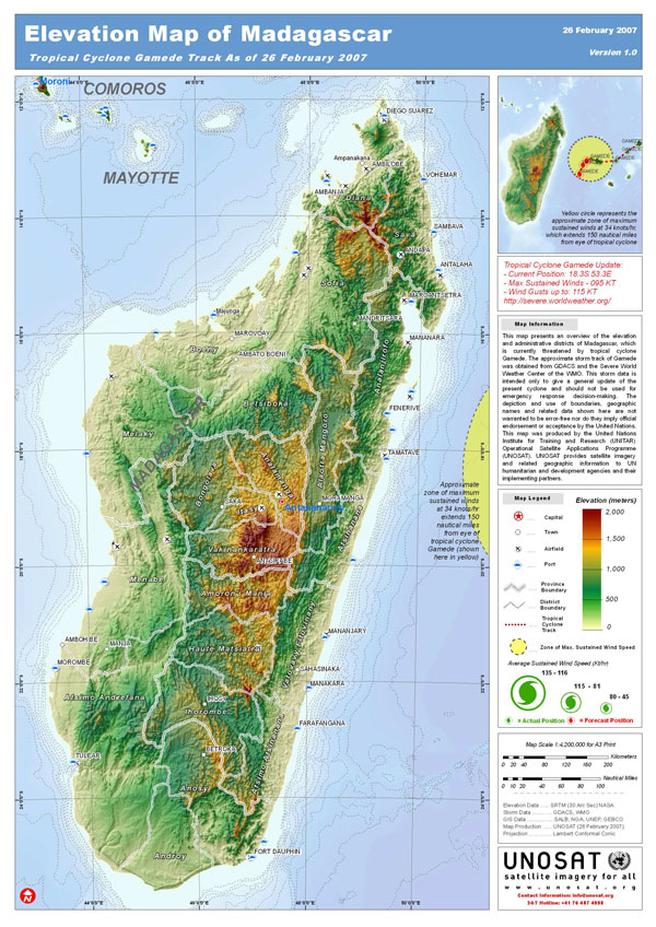 Large detailed elevation map of Madagascar.