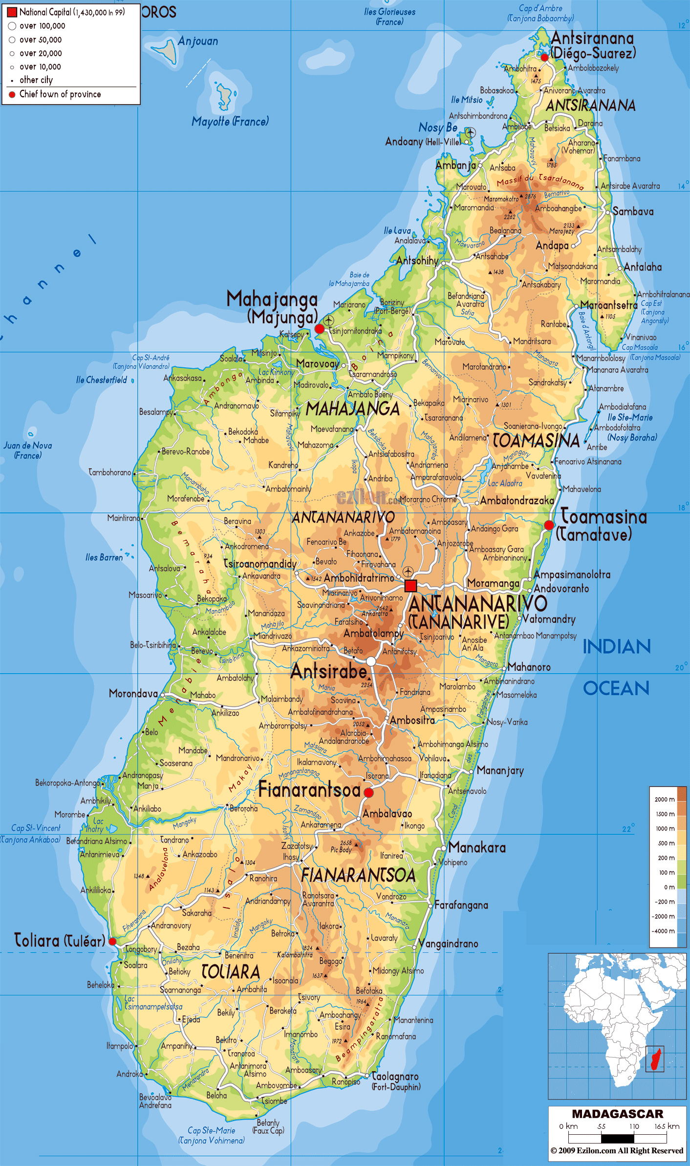 Large detailed physical map of Madagascar with all cities roads and