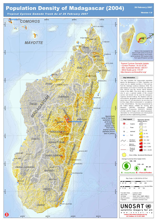 Large detailed population density map of Madagascar.