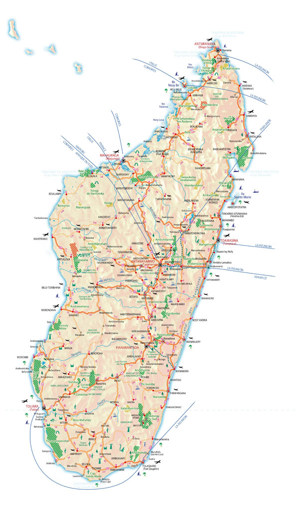 Large detailed road and tourist map of Madagascar with cities and aircraft routes.