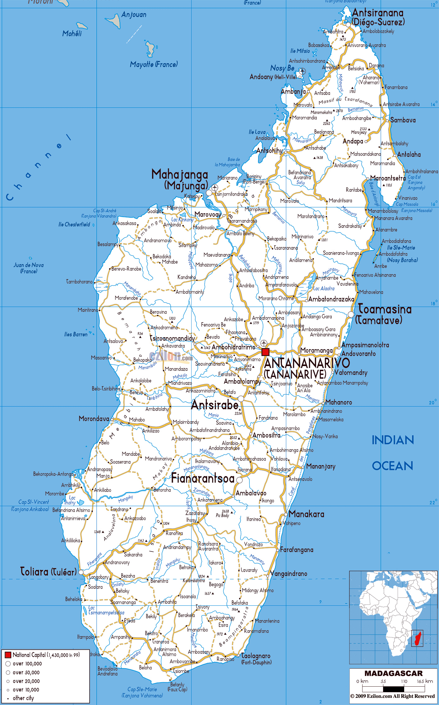 Large detailed roads map of Madagascar with all cities and ...