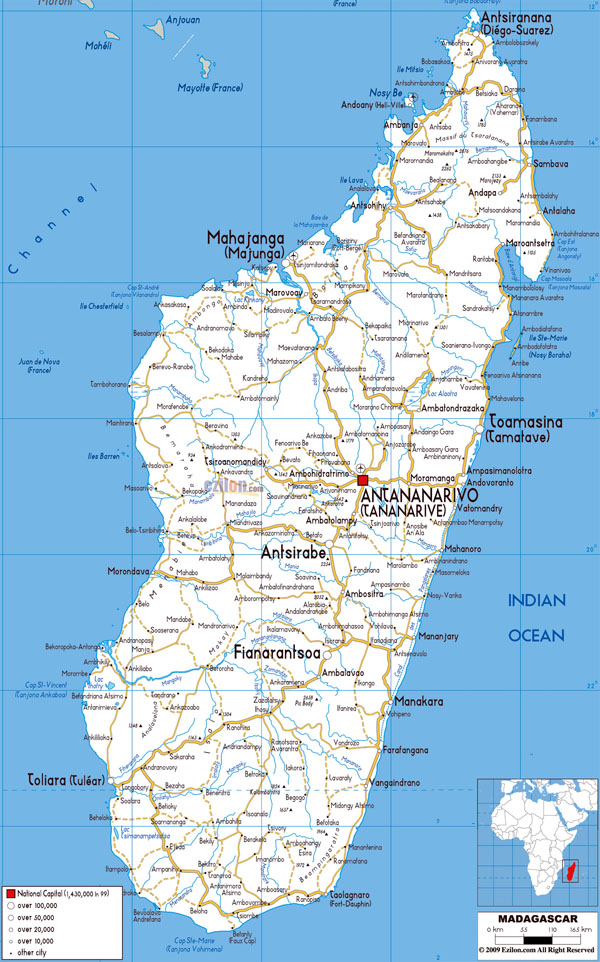 Large detailed roads map of Madagascar with all cities and airports.