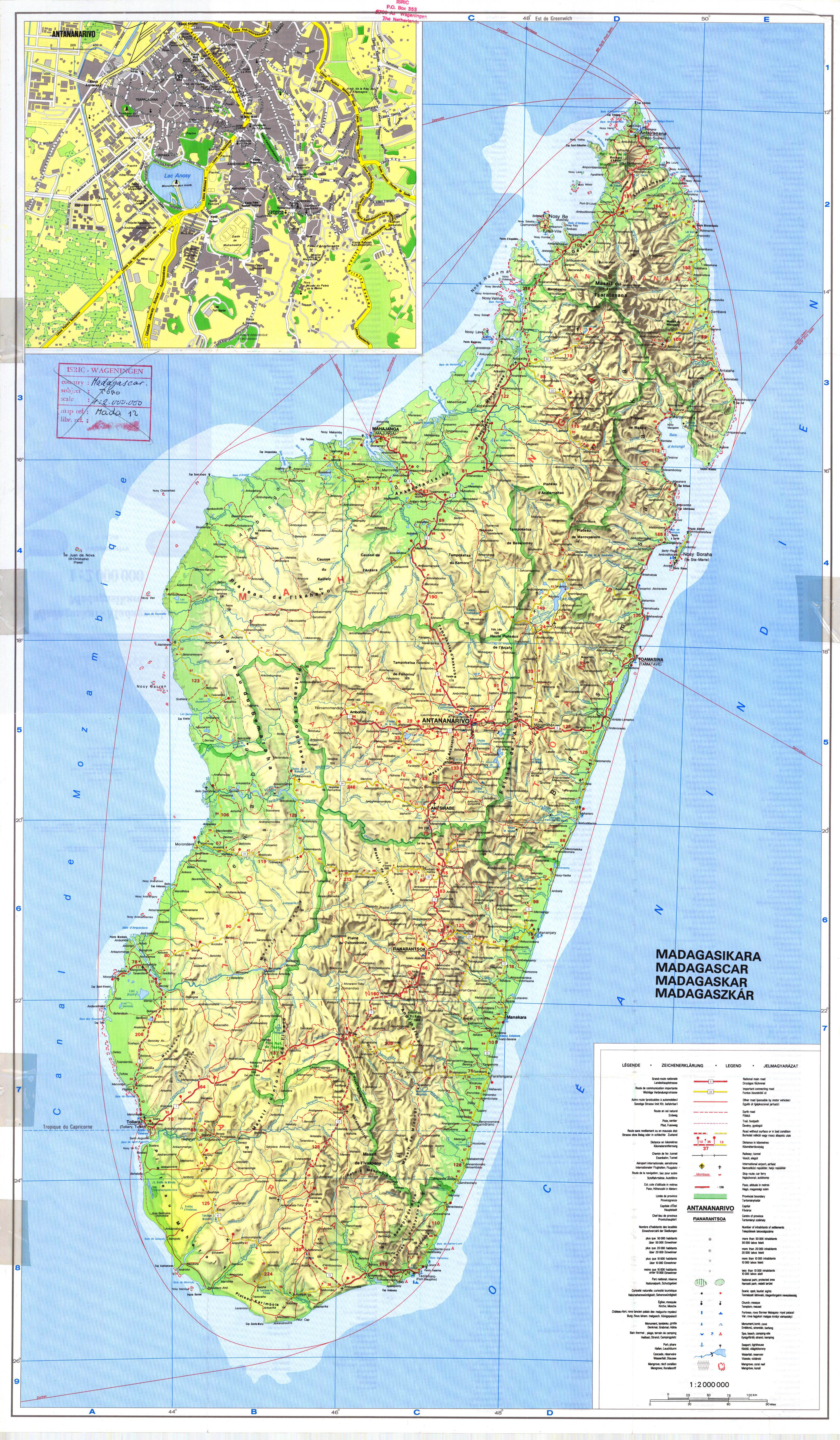 Large detailed topographic map of Madagascar with all roads cities