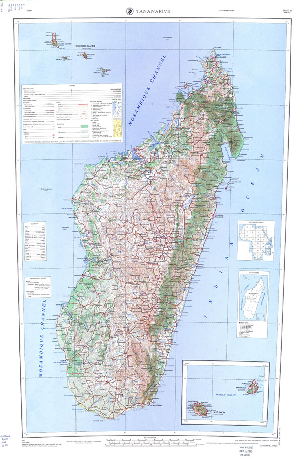 Large detailed topographical map of Madagascar with all roads, cities, sea ports, airports.