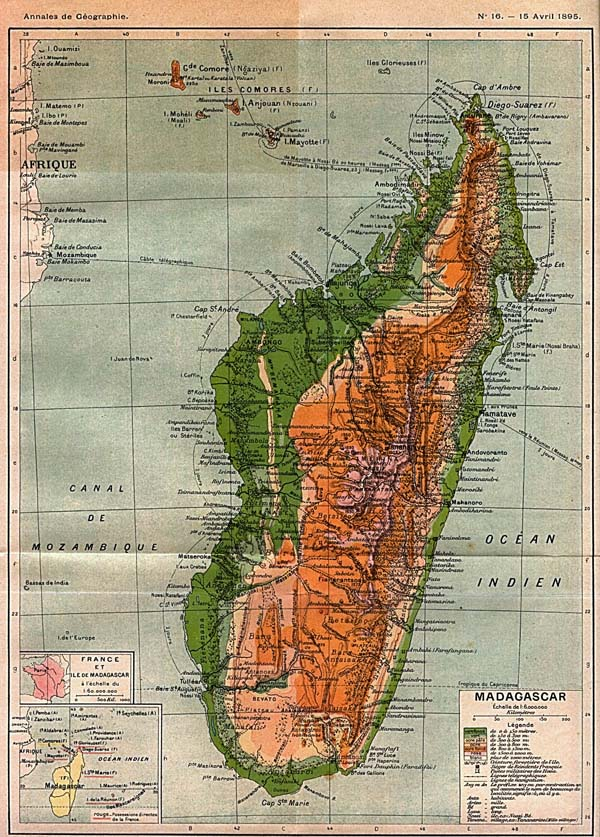 Large old physical map of Madagascar - 1895.