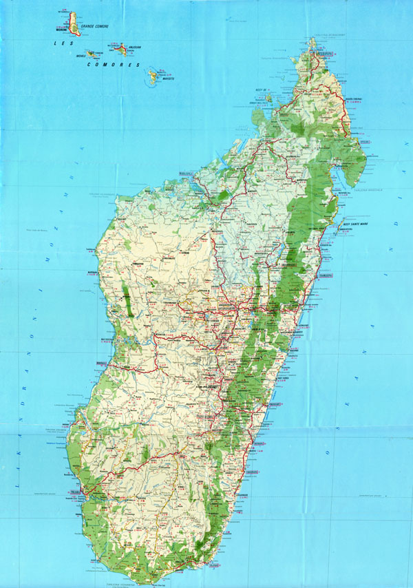 Large scale (HiRes) detailed roads map of Madagascar with relief, all cities and villages, airports and other marks.