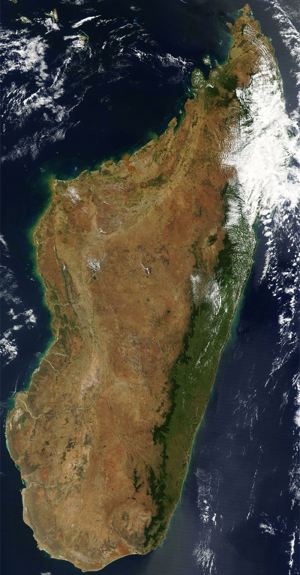 Madagascar large detailed satellite map.