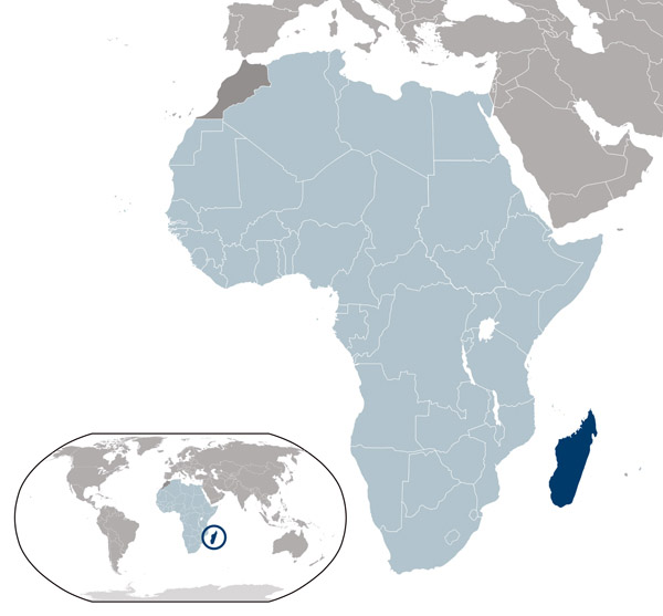 Madagascar location map. Location map of Madagascar.