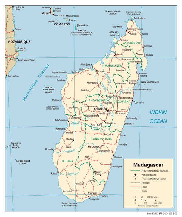 Political map of Madagascar with all cities.