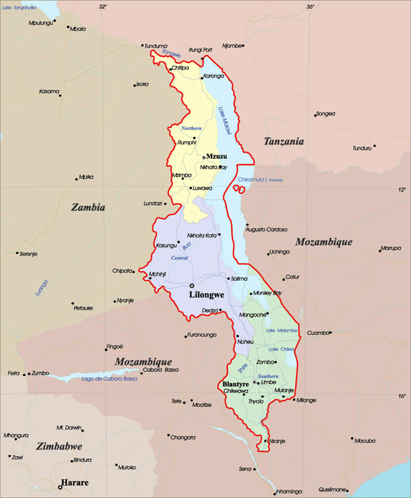 Detailed administrative map of Malawi. Malawi detailed administrative map.
