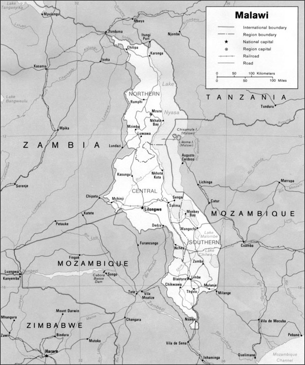 Detailed political map of Malawi. Malawi detailed political and administrative map.