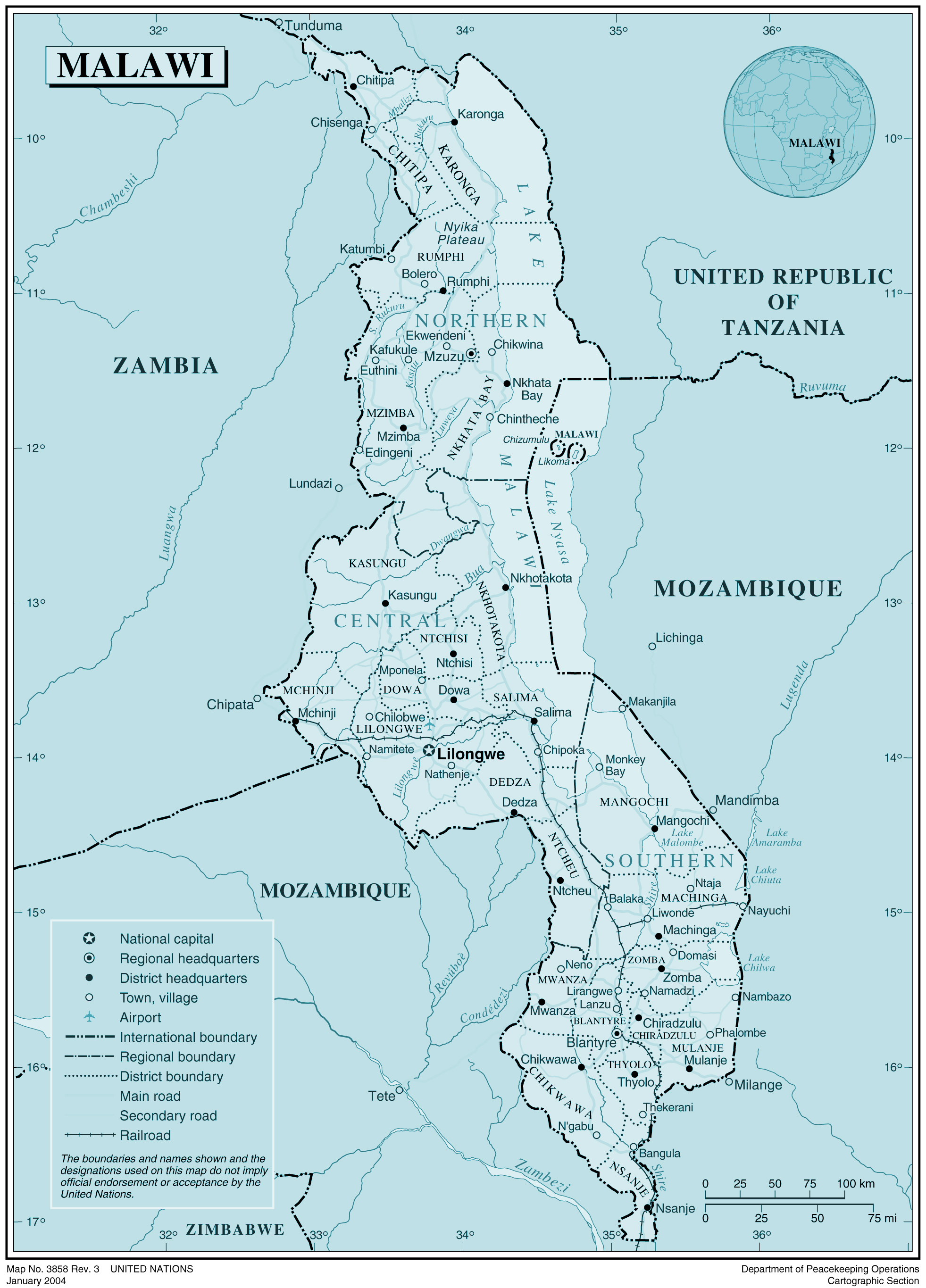 Malawi large detailed political and administrative map with all