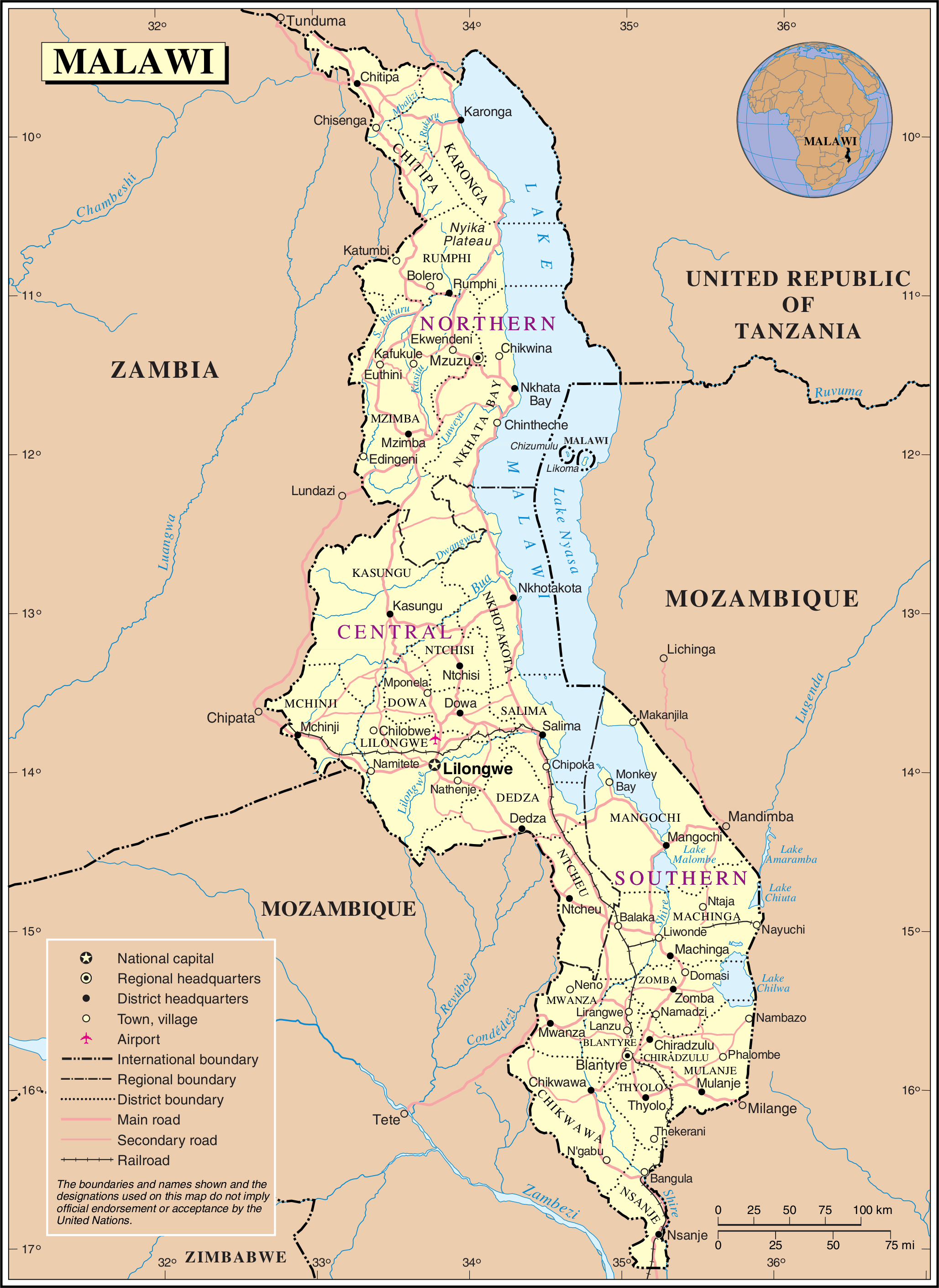 Large detailed political and administrative map of Malawi with all