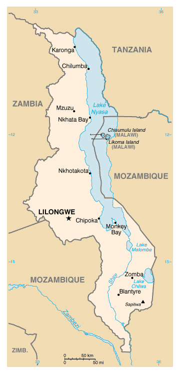 Map of Malawi. Malawi map.
