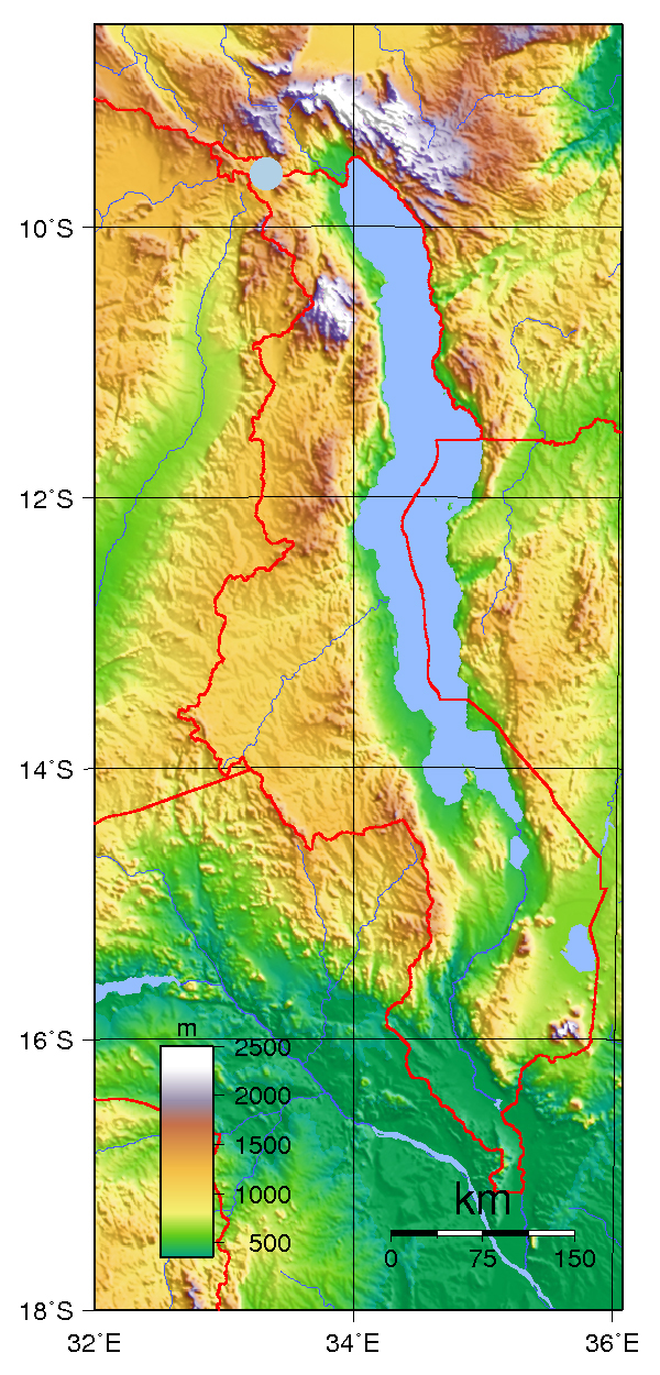 Physical map of Malawi. Malawi physical map.