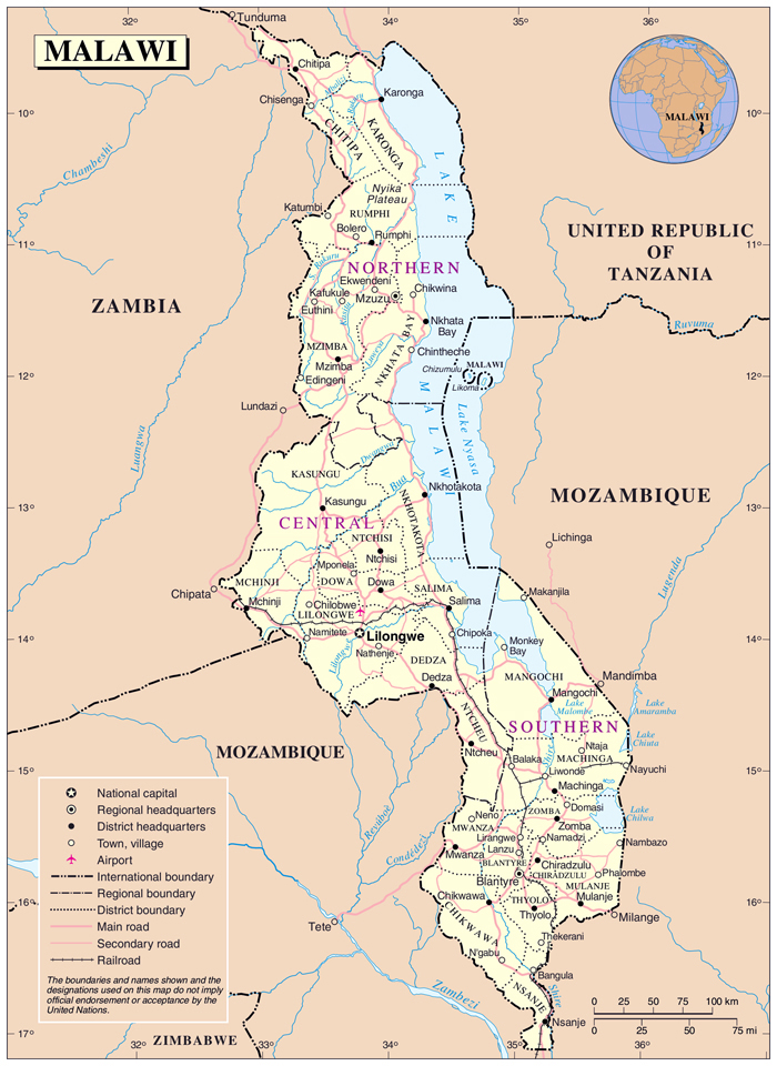 Political and administrative map of Malawi. Malawi political and administrative map.