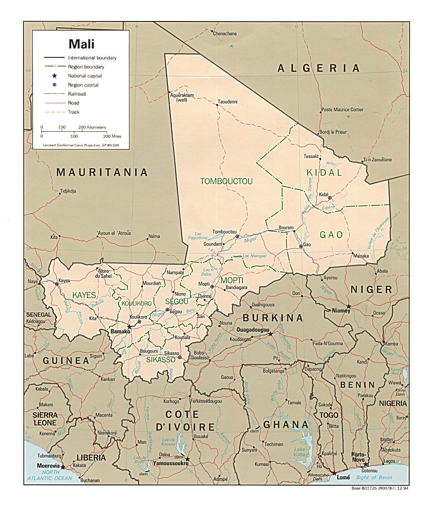 Detailed administrative and political map of Mali with all roads and