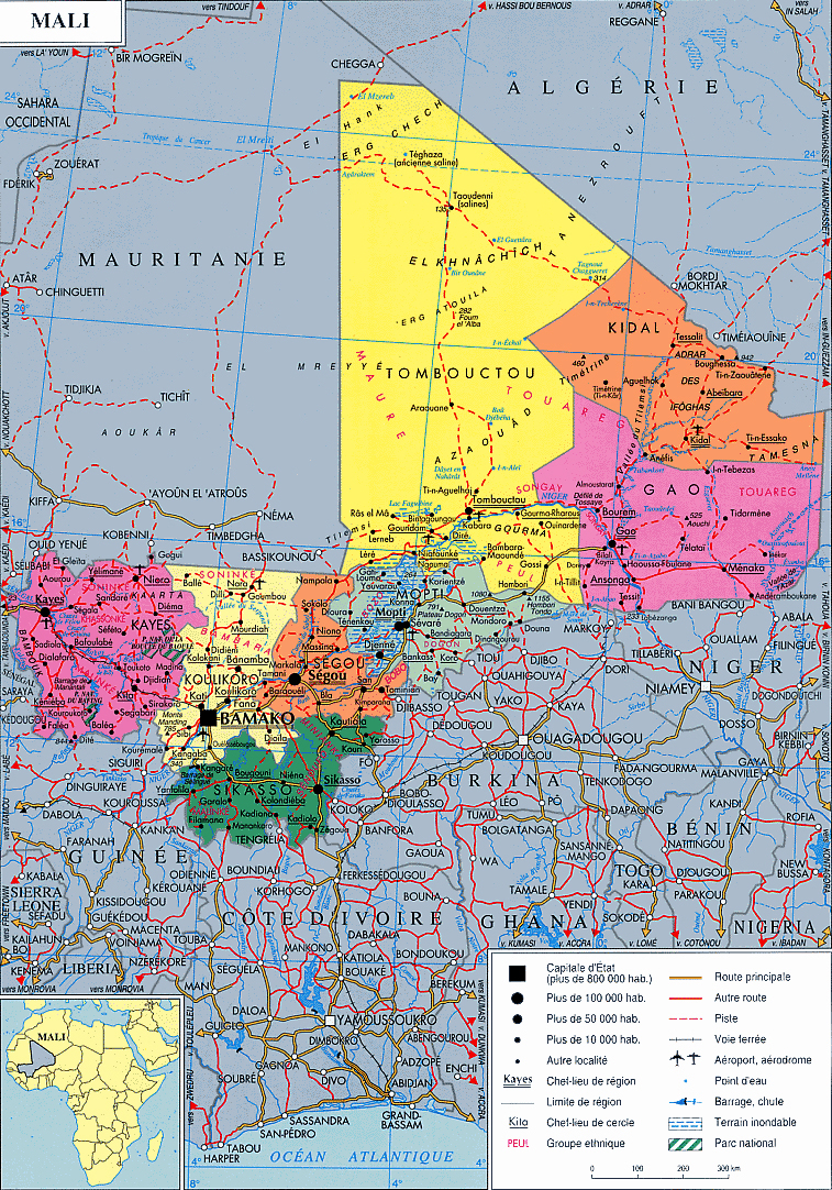 Detailed administrative map of Mali Mali detailed administrative