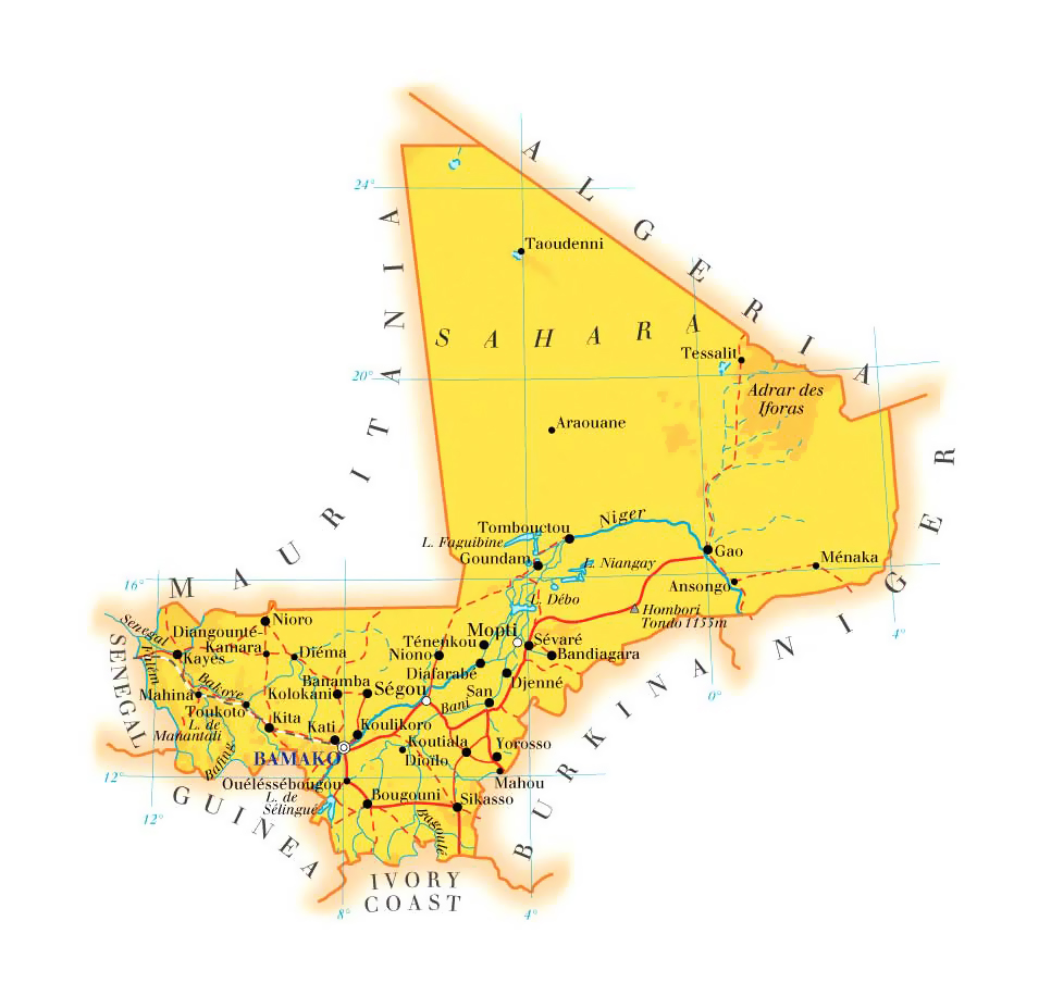 Detailed physical and road map of Mali Mali detailed physical and