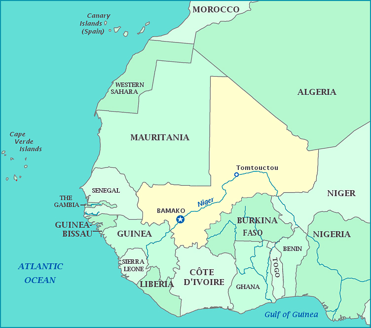 Detailed political map of Mali Mali detailed political map M