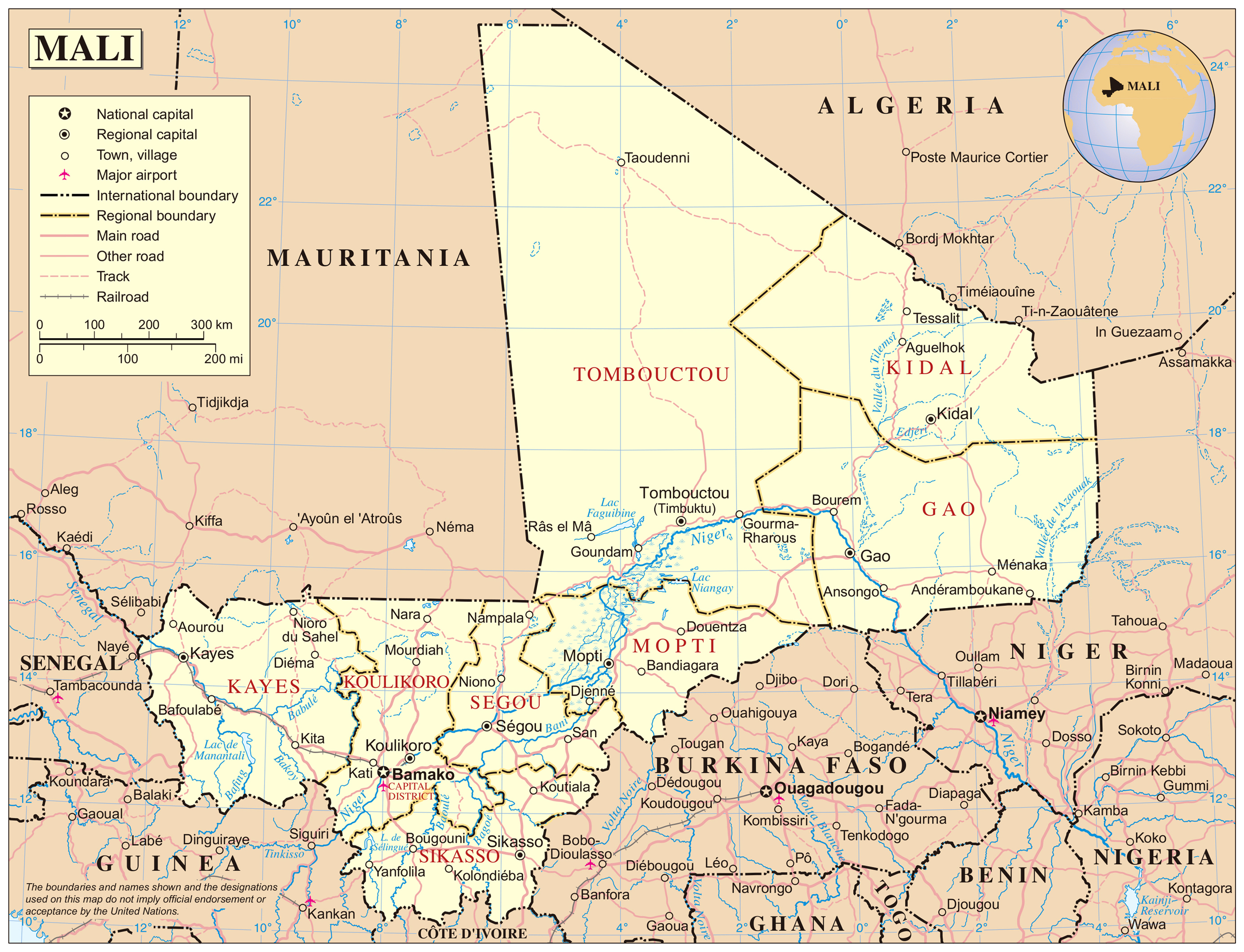 Detailed political map of Mali with cities Mali detailed political