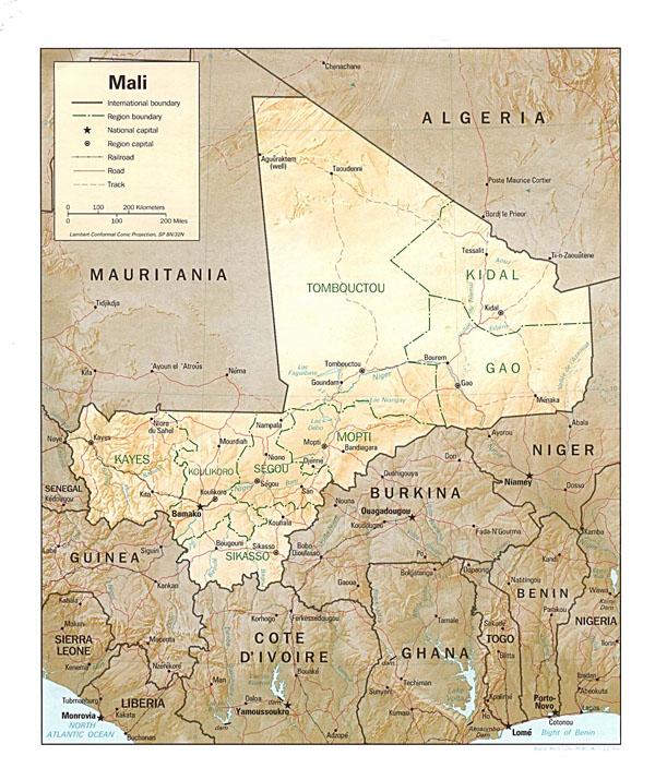 Detailed relief and political map of Mali. Mali detailed relief and political map.