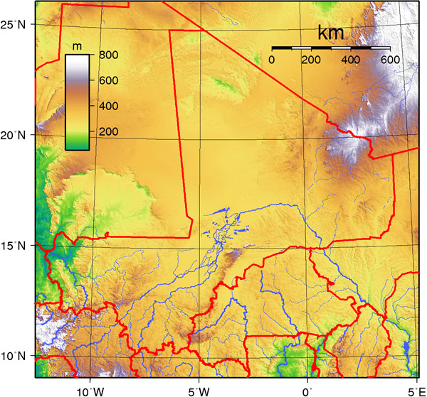 Detailed topographical map of Mali. Mali detailed topographical map.