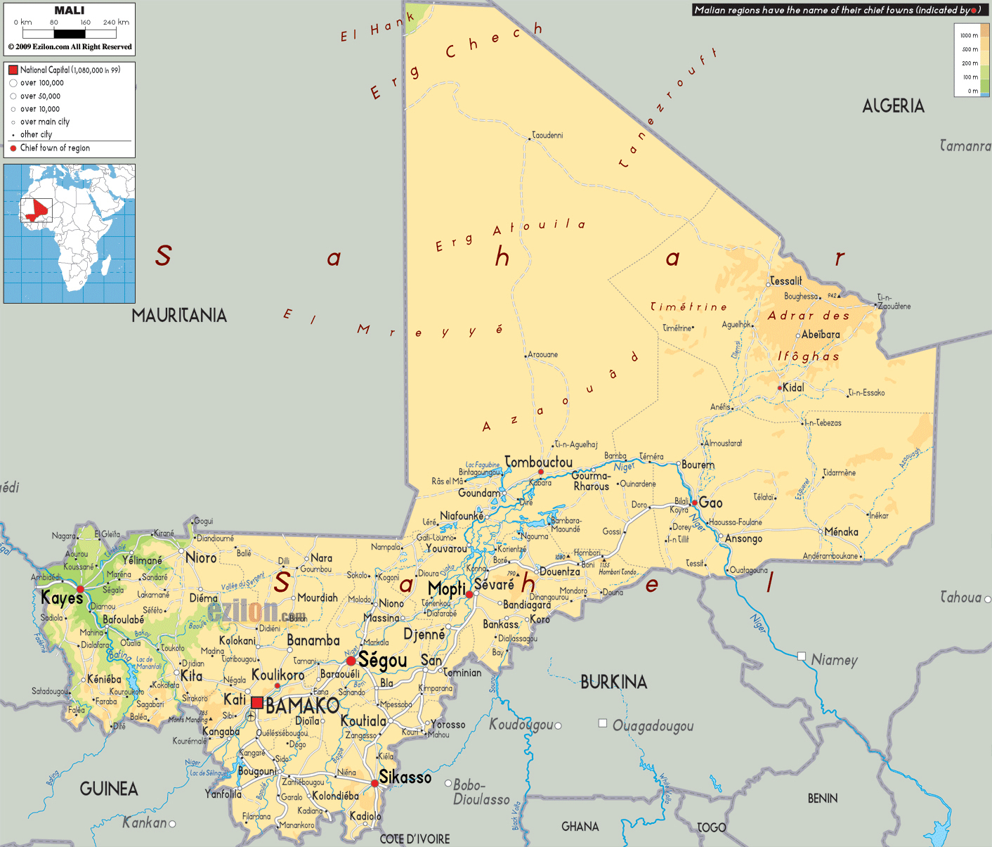 Large detailed physical map of Mali wit all cities roads and