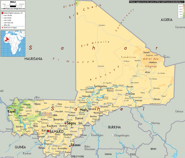 Large detailed physical map of Mali wit all cities, roads and airports.