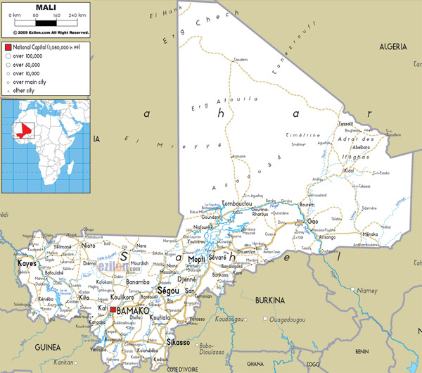Large detailed road map of Mali wit all cities and airports.