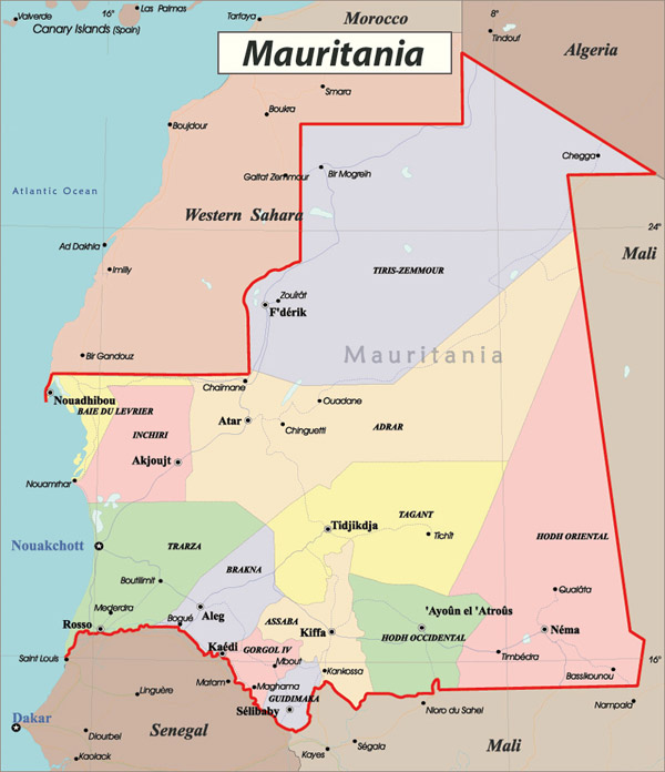 Detailed administrative map of Mauritania. Mauritania detailed administrative map.