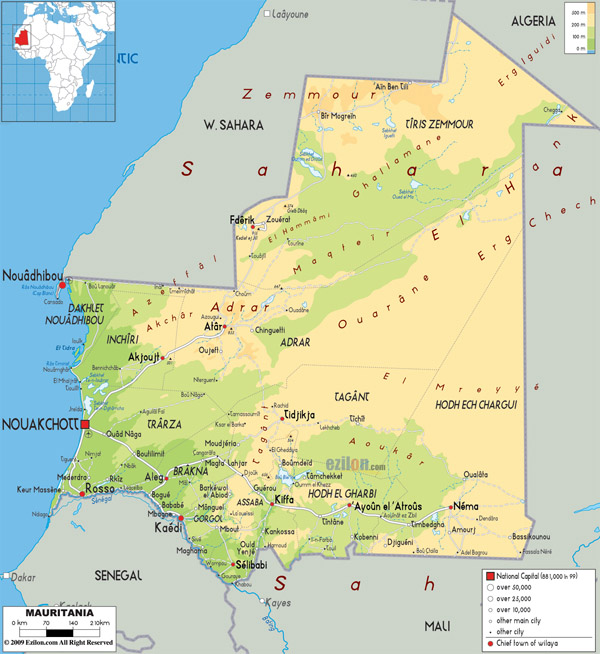 Detailed physical map of Mauritania with all cities, roads and airports.