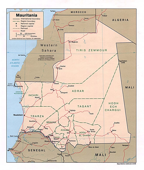 Detailed political and administrative map of Mauritania.