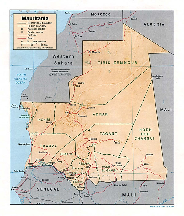 etailed relief and political map of Mauritania. Mauritania detailed relief and political map.
