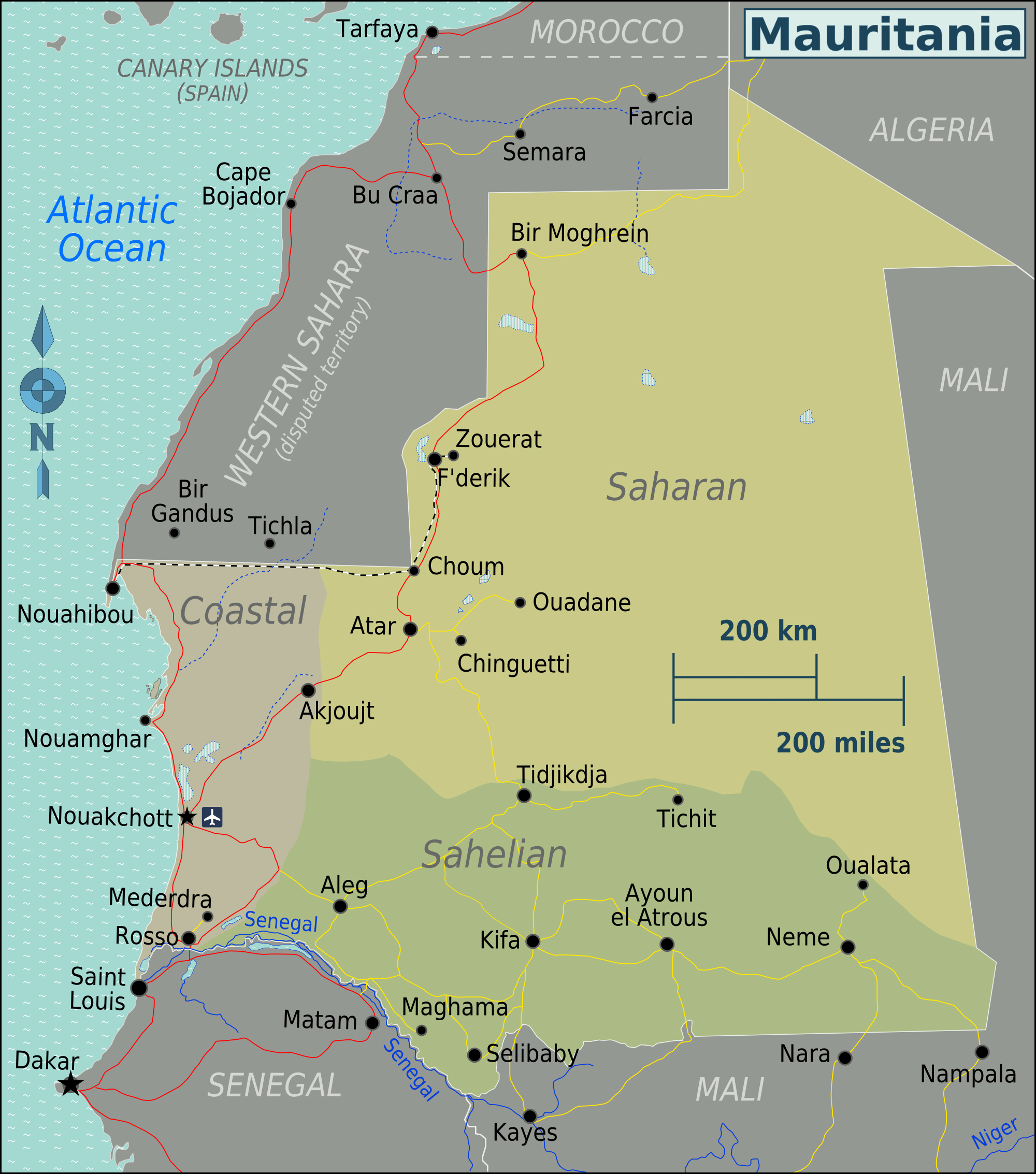 Full political map of Mauritania Mauritania full political map