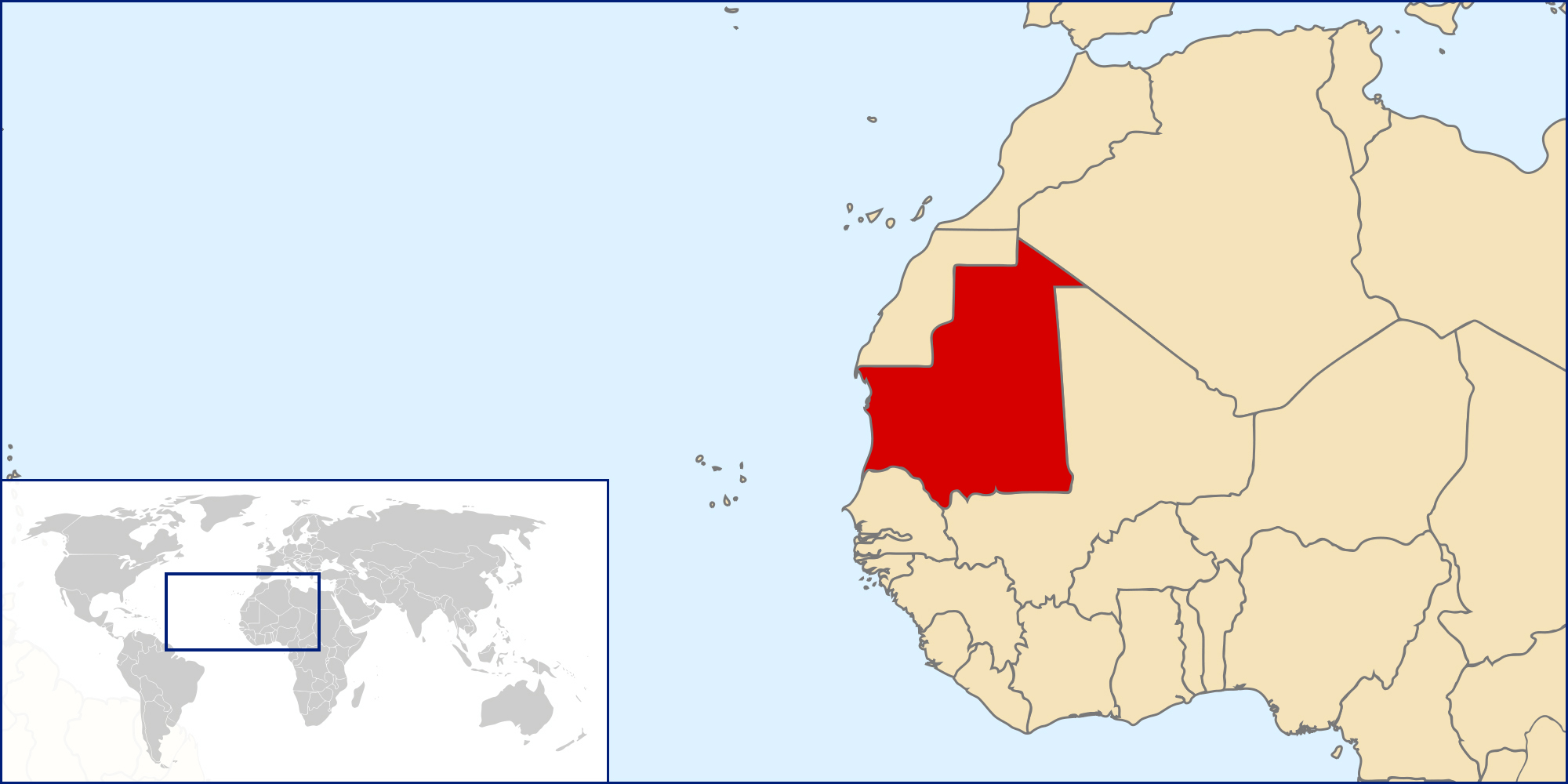 Mauritania detailed location map Detailed location map of
