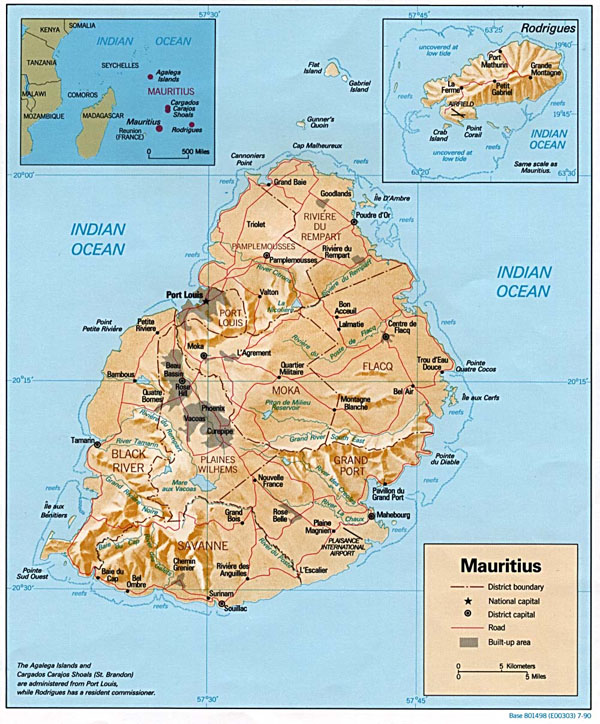 Detailed relief and political map of Mauritius.