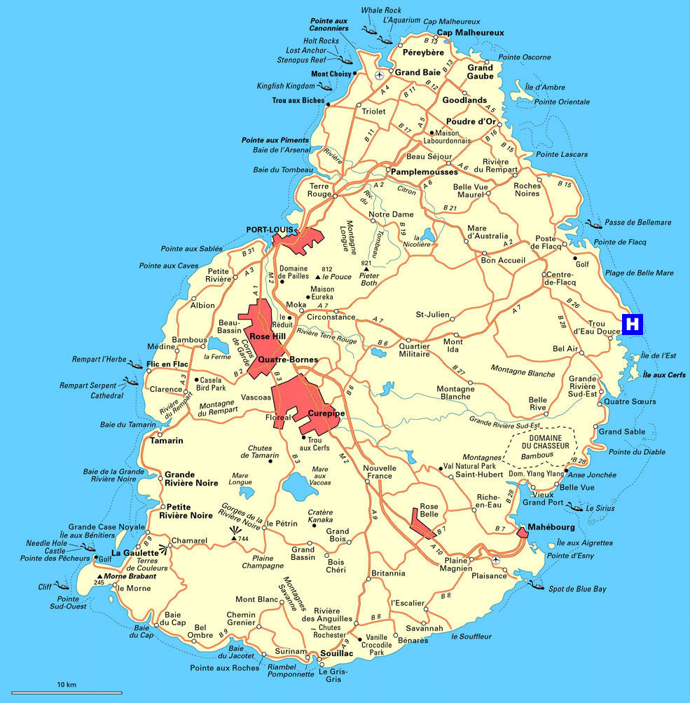 Detailed Road Map Of Mauritius Mauritius Detailed Road Map - Political map of mauritius