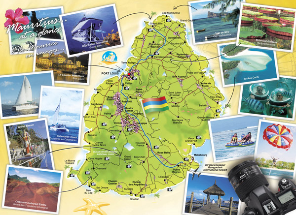 Detailed travel map of Mauritius. Mauritius detailed travel map.