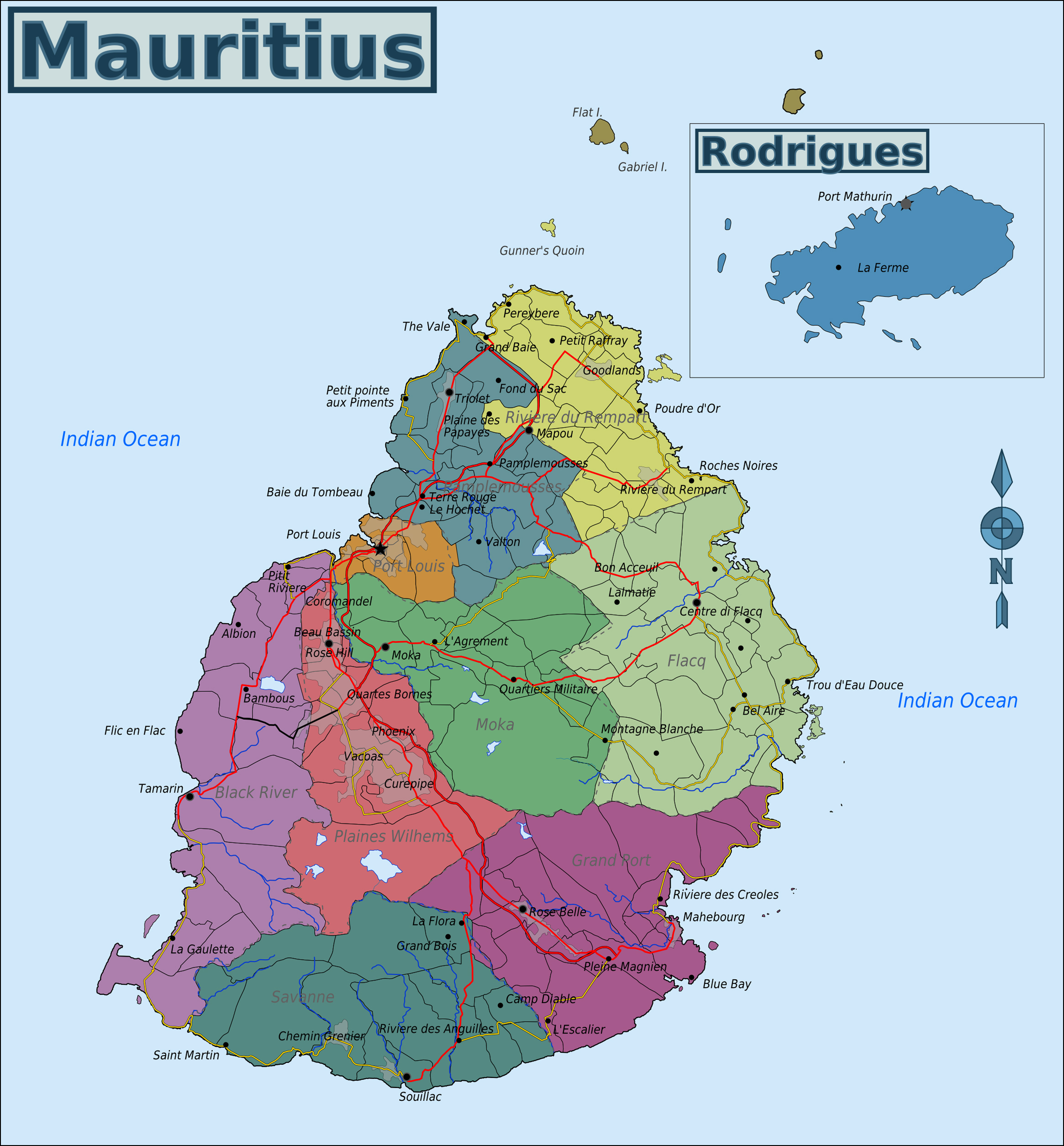 Full Political Map Of Mauritius Mauritius Full Political Map - Political map of mauritius