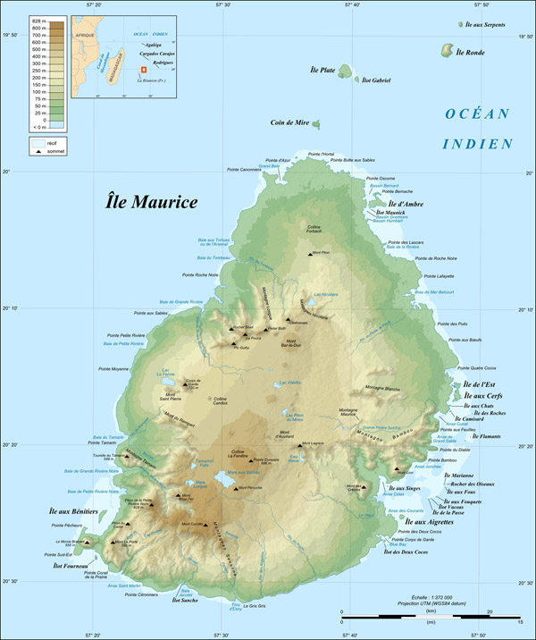Large detailed physical map of Mauritius. Mauritius large detailed physical map.
