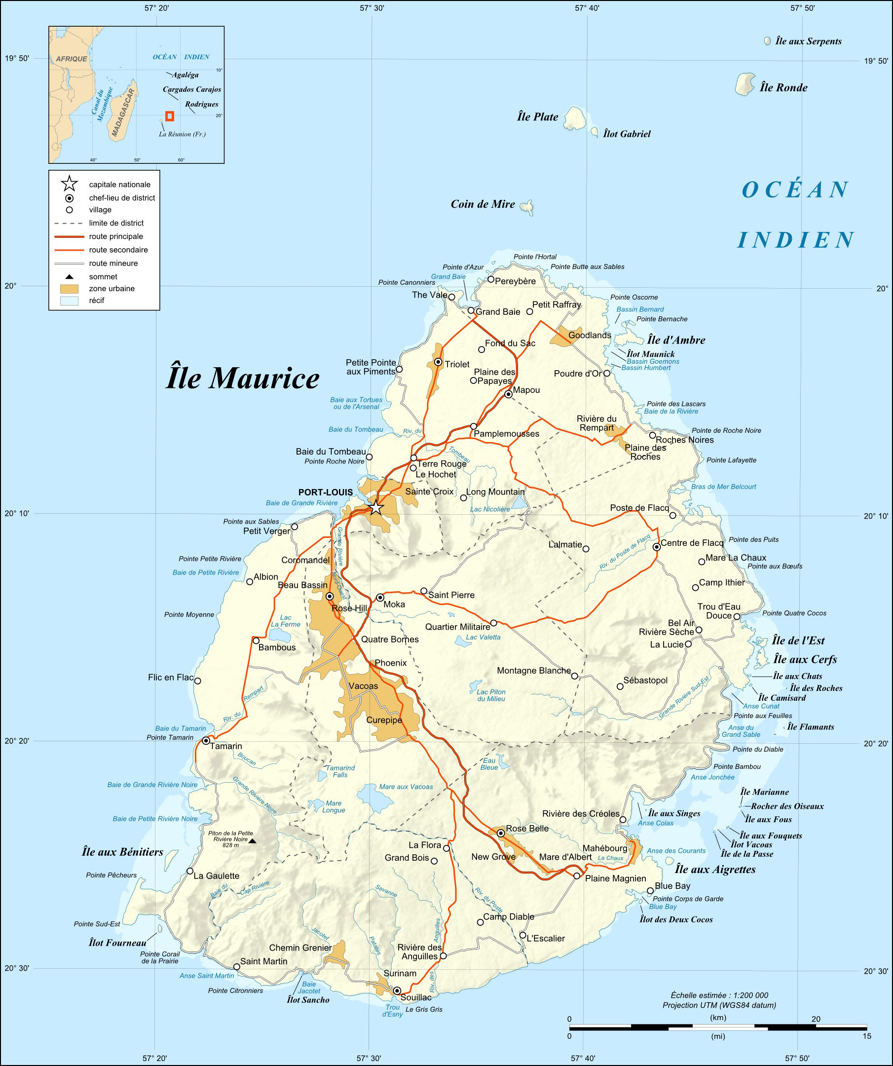 Large Detailed Relief And Road Map Of Mauritius Mauritius Large - Detailed map of mauritius