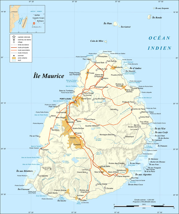 Large detailed relief and road map of Mauritius.