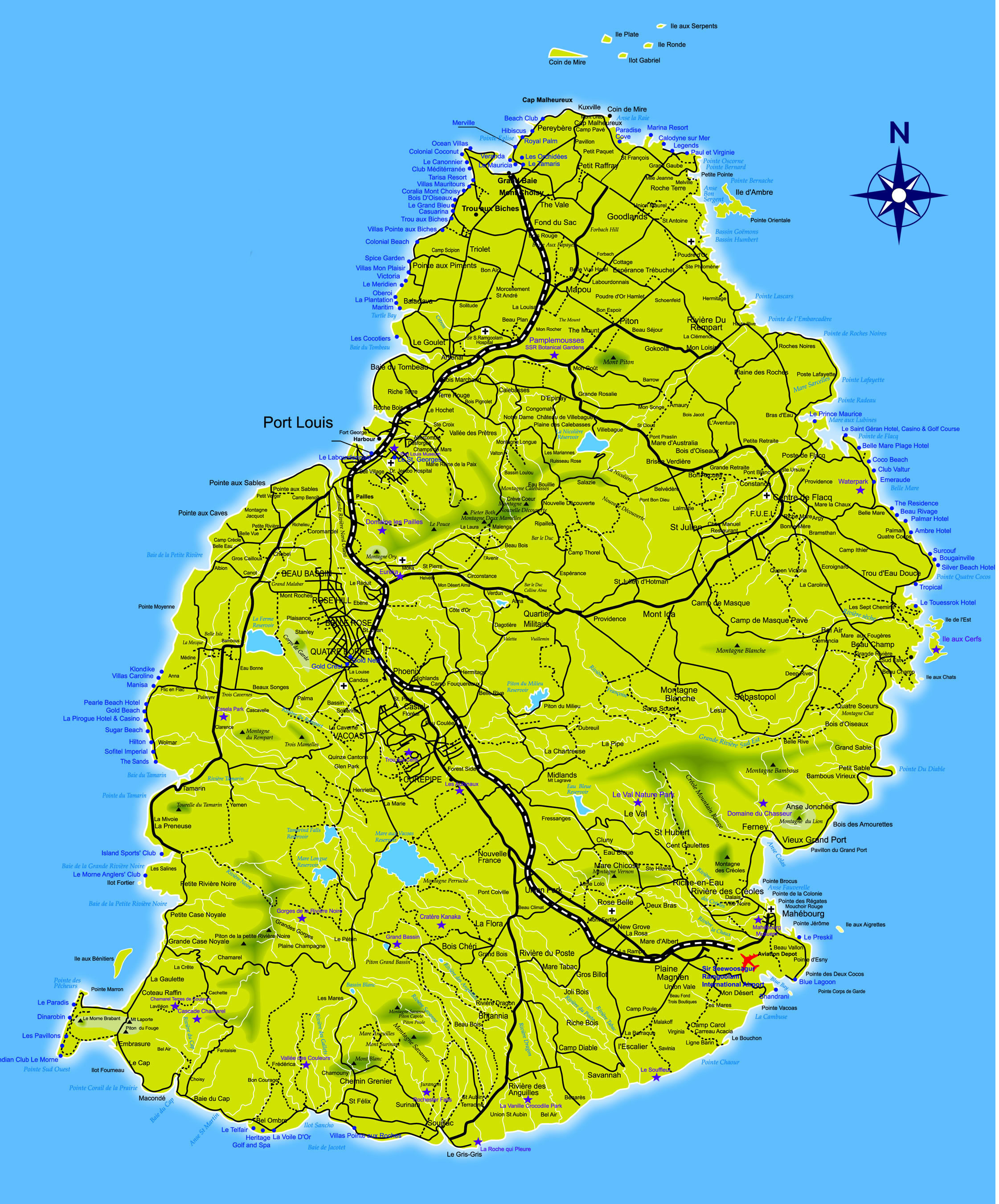 Large detailed road map of Mauritius Mauritius large detailed road