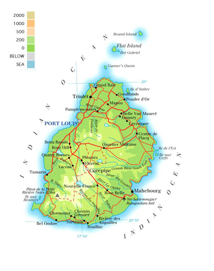 Physical map of Mauritius. Mauritius physical map.