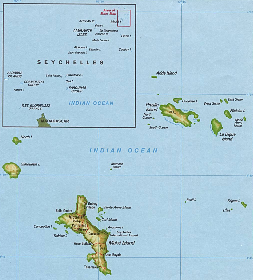 Detailed relief and political map of Mayotte Island Mayotte Island
