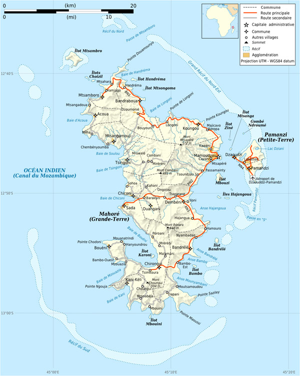 Detailed road and relief map of Mayotte Island. Mayotte Island detailed road and relief map.