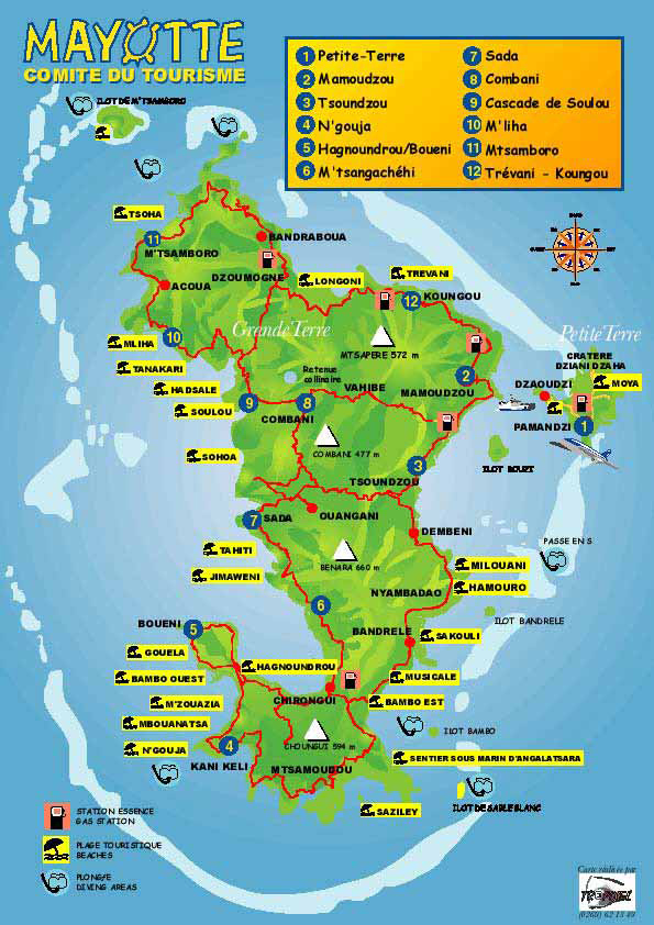 Detailed tourist map of Mayotte Island. Mayotte Island detailed tourist map.