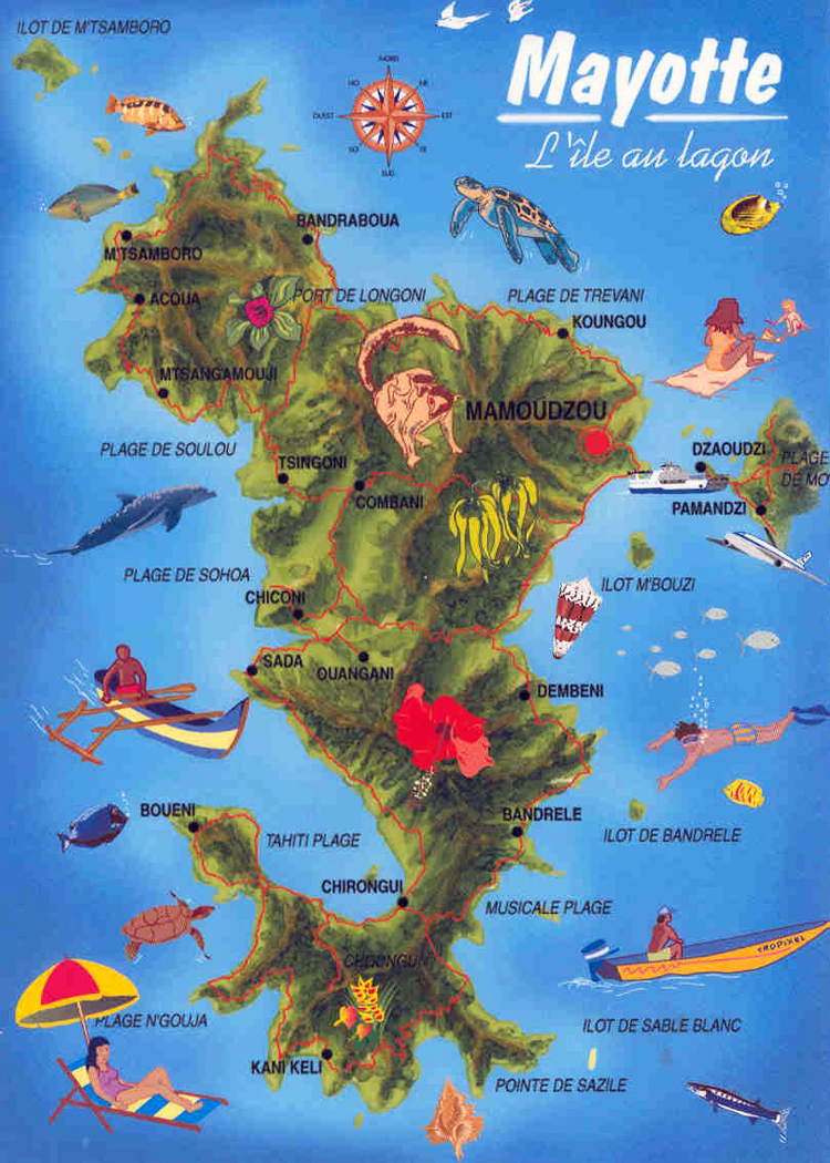 Detailed travel map of Mayotte Island. Mayotte Island detailed travel map.