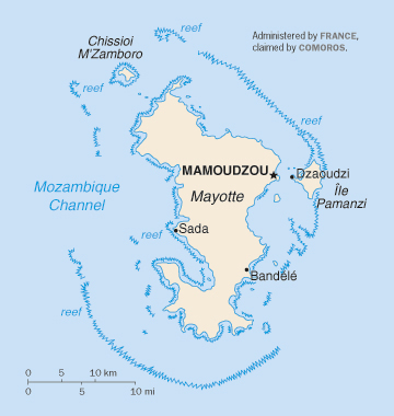 Map of Mayotte Island. Mayotte Island map.